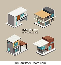 Vector Modern house isometric collections design