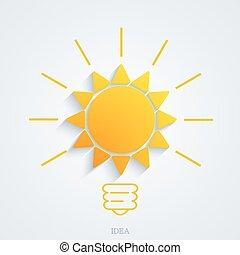 Vector modern idea with sun background