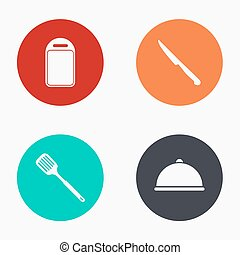 Vector modern kitchen appliances colorful icons set