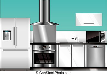 Vector modern kitchen in blue and white colors