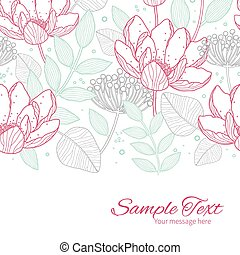 Vector modern line art florals horizontal border card...