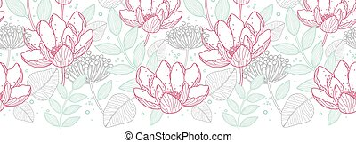 Vector modern line art florals horizontal border seamless pattern background