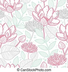 Vector modern line art florals seamless pattern background...