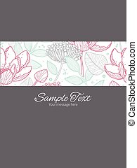 Vector modern line art florals stripe frame vertical card...