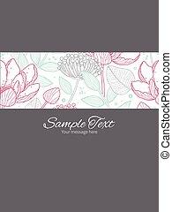 Vector modern line art florals stripe frame vertical card...