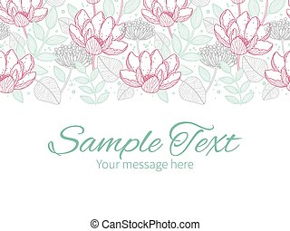 Vector modern line art florals horizontal border greeting card invitation template