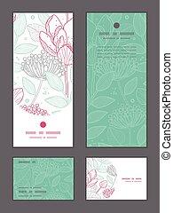 Vector modern line art florals vertical frame pattern invitation greeting, RSVP and thank you cards set