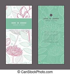 Vector modern line art florals vertical frame pattern invitation greeting cards set