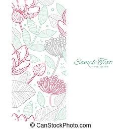 Vector modern line art florals vertical frame seamless pattern background