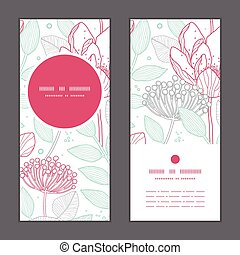 Vector modern line art florals vertical round frame pattern invitation greeting cards set