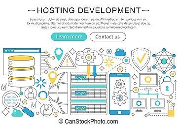 Vector modern line flat design Hosting development concept. Hosting development icons Website Header, app design poster banner.