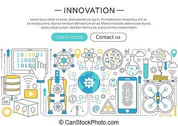 Vector modern line flat design Innovation concept. Innovation future technology icons Website Header, app design poster banner.