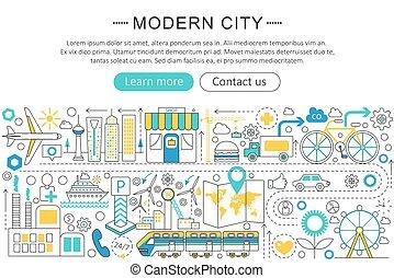 Vector modern line flat design Modern smart city concept. Smart city icons Website Header, app design poster banner.