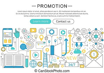 Vector modern line flat design Promotion concept. Promotion icons Website Header, app design poster banner.
