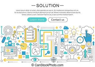 Vector modern line flat design Solution concept. Logic brain Solution icons Website Header, app design poster banner.