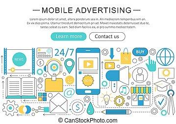 Vector modern line flat Mobile advertising marketing sales concept. Mobile advertising marketing technology icons Website Header, app design poster banner.