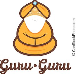 Vector modern minimalistic meditating old guru logo
