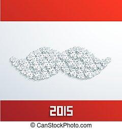 Vector modern mustache snowflakes