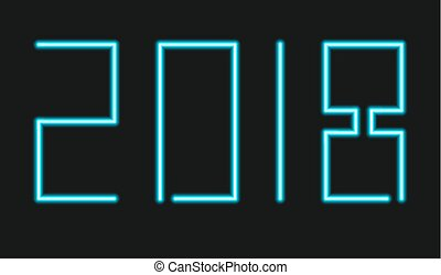 vector modern neon 2018 happy new year background.