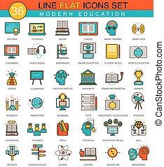 Vector Modern online education flat line icon set. Modern elegant style design for web.