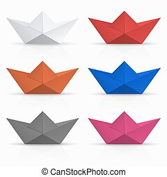 vector modern origami boat set on white