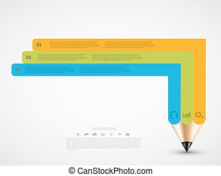 Vector modern pencil infographic.
