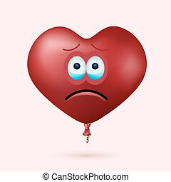 Vector modern red heart balloon face with ribbon