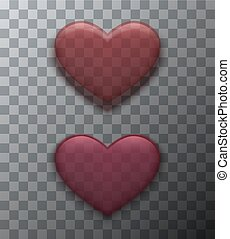 Vector modern red valentines day background. Heart icon for design.