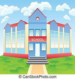 Vector modern school building - Vector cartoon red and blue...