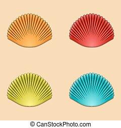 vector modern shells set on orange