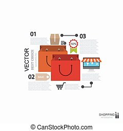 Vector modern shopping infographic background.