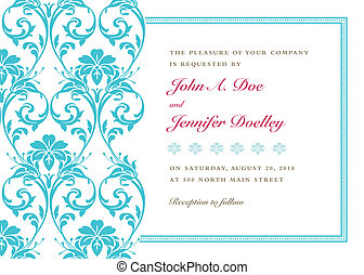 Vector floral background and frame with sample text. Perfect as invitation or announcement. Pattern is included as seamless swatch. All pieces are separate. Easy to change colors.