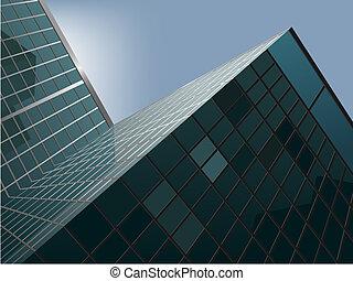 skyscraper - vector modern skyscraper with the blue sky ...