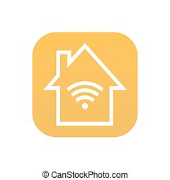 Vector modern smart house icon on white background