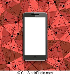 Vector modern smartphone on polygonal background.