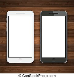 Vector modern smartphone on wooden background