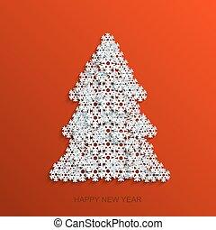 Vector modern snowflakes christmas tree