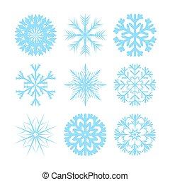 Vector modern snowflakes flat icons set