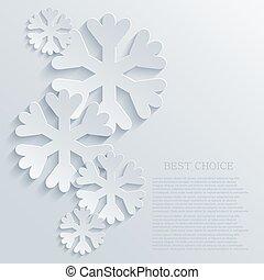Vector modern snowflakes light background.