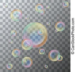 Vector modern soap bubbles on background