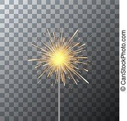 Vector modern sparkler on transparent background.