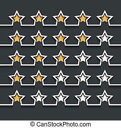 Vector modern stars rating set on black