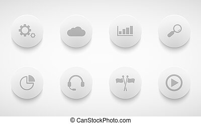 Vector modern technology circle icons set
