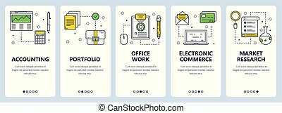 Vector modern thin line financial accounting concept web banner set