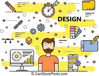Vector modern thin line flat style Design concept illustration