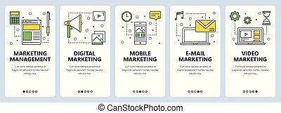 Vector modern thin line marketing management concept web banner set