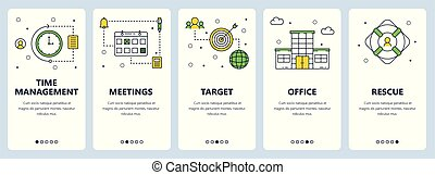 Vector modern thin line time management concept banner set