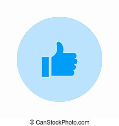 Vector modern thumbs up circle icon on white