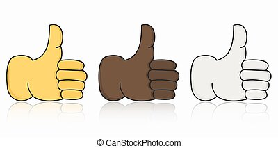 Vector modern thumbs up icon set on white background.