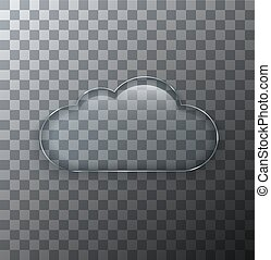 Vector modern transparent cloud glass plate with shadow on sample background.
